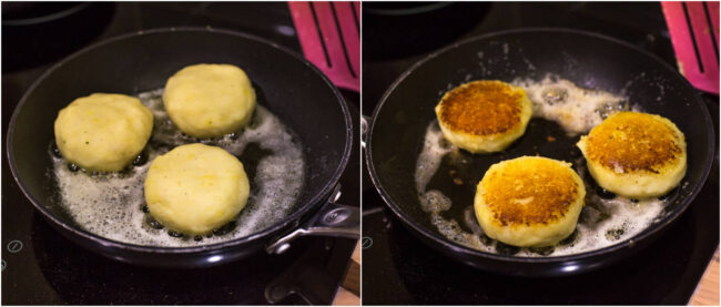 Collage showing mashed potato cakes frying in a pan.