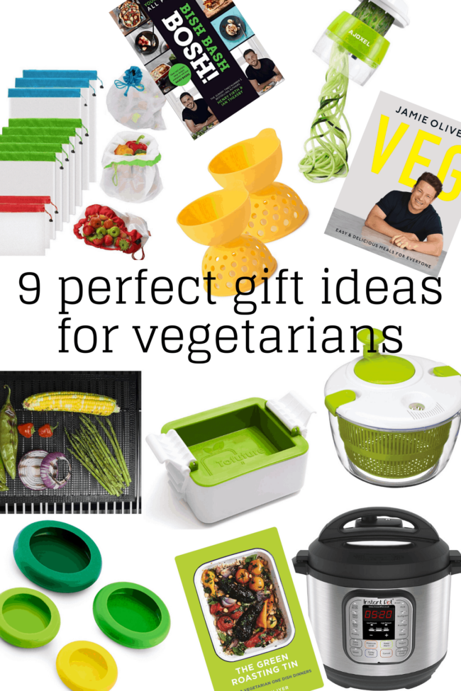 A collage showing 9 perfect gift ideas for vegetarians.