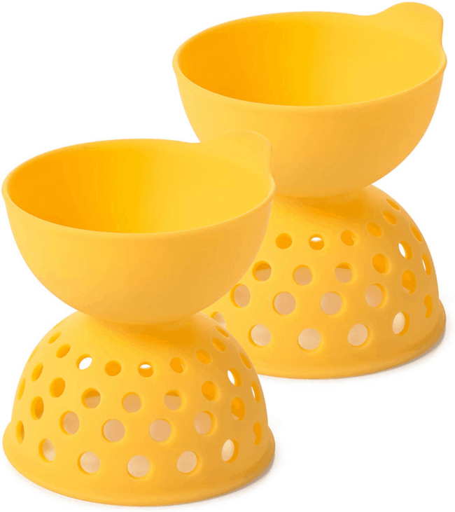 A pair of yellow egg poachers.