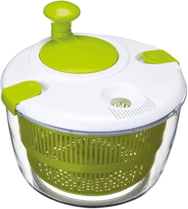 A green and white OXO salad spinner.