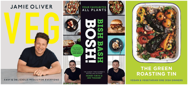 A collage showing 3 popular vegetarian cookbooks from 2019.