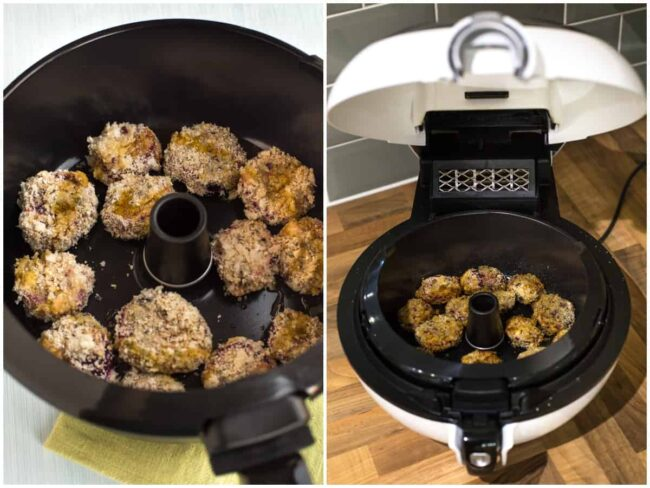 Collage showing beetroot nuggets being cooked in a Tefal Actifry air fryer.