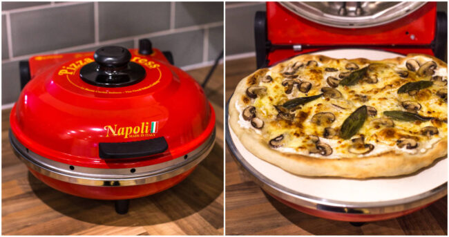 Optima Pizza Express Napoli countertop pizza oven being used to cook a mushroom pizza.