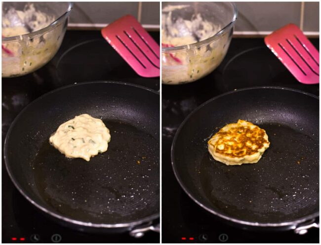 Collage showing cheese fritters being fried in a pan.