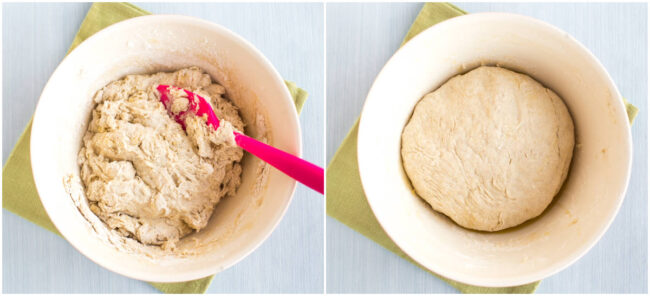 Collage showing pizza dough before and after kneading.