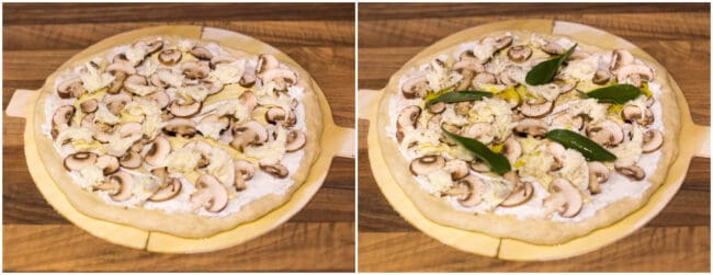 An uncooked white pizza topped with mushrooms and sage.