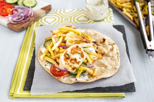 Vegetarian doner kebab with halloumi.