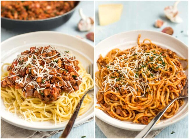 Collage showing vegan bolognese sauce neatly placed on top of a bowl of spaghetti, and all mixed in.