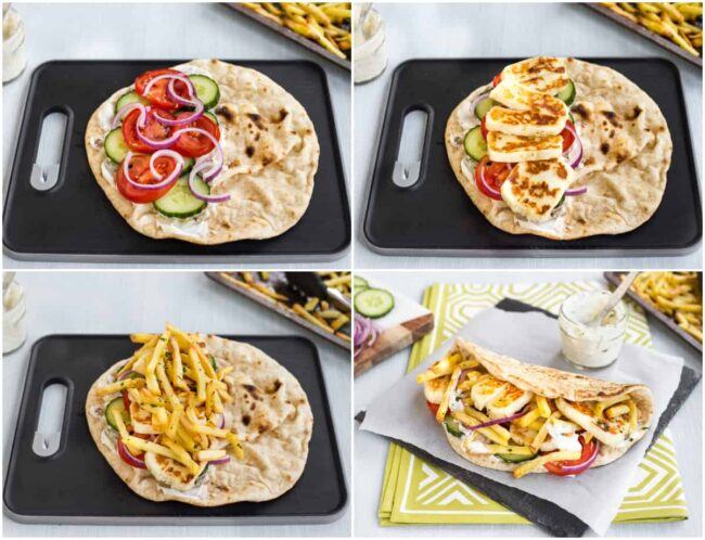 Collage showing how to assemble a vegetarian doner kebab.