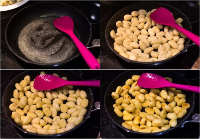 Collage showing the stages of frying gnocchi in a pan.