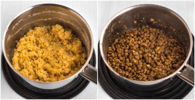 Cooked red lentils and cooked brown lentils in saucepans.