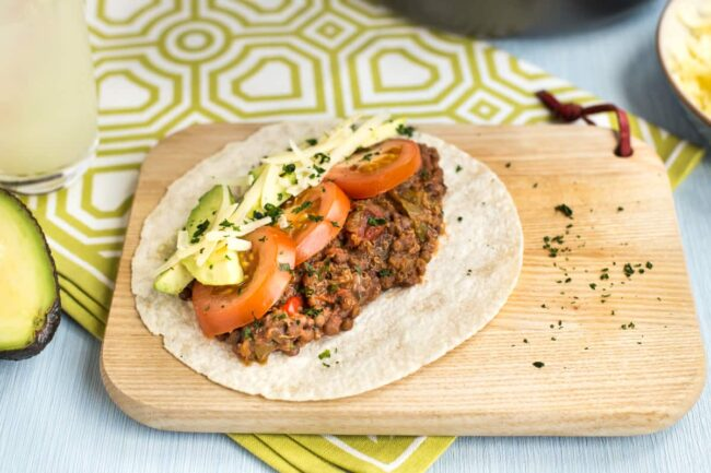 Slow cooker lentil and quinoa tacos.