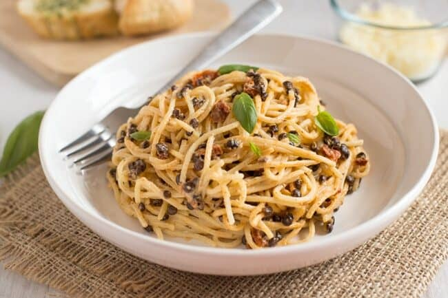 Smoky lentil carbonara.