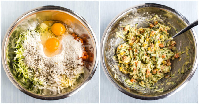 Collage showing eggs and flour being mixed into vegetables and cheese.