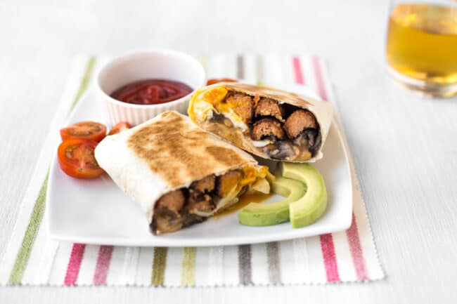 Full English breakfast burritos.