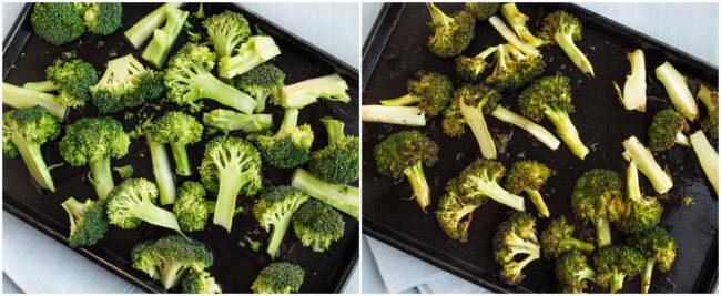 Roasted broccoli on a baking tray.