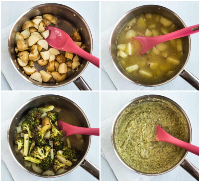 Collage showing broccoli and potato soup cooking in a pan.