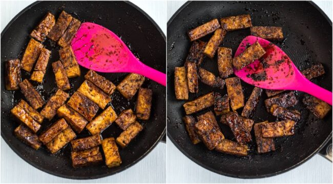 Collage showing teriyaki tofu getting sticky in a pan.