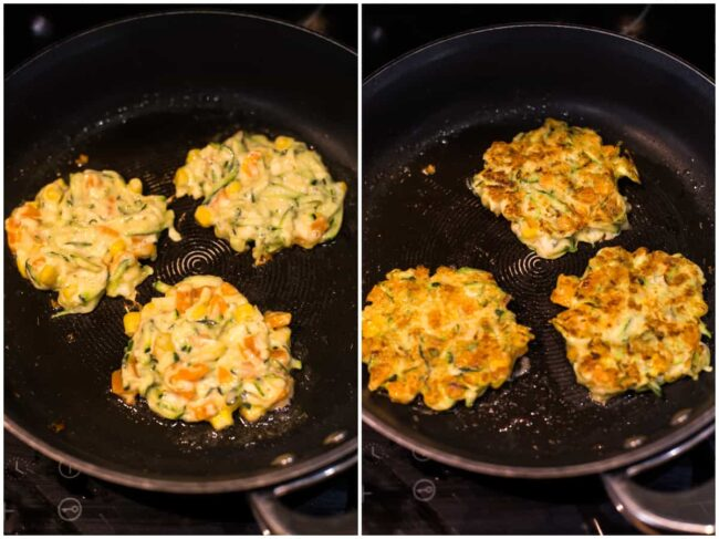 Collage showing vegetable fritters before and after being flipped in a frying pan.