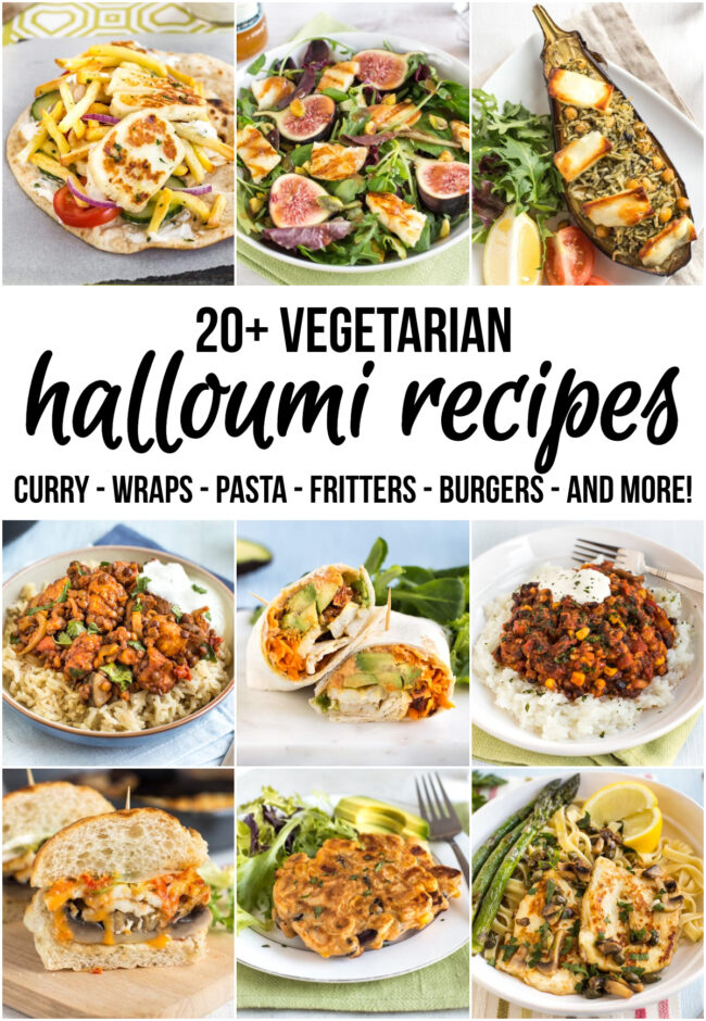 A collage of various different vegetarian halloumi recipes.