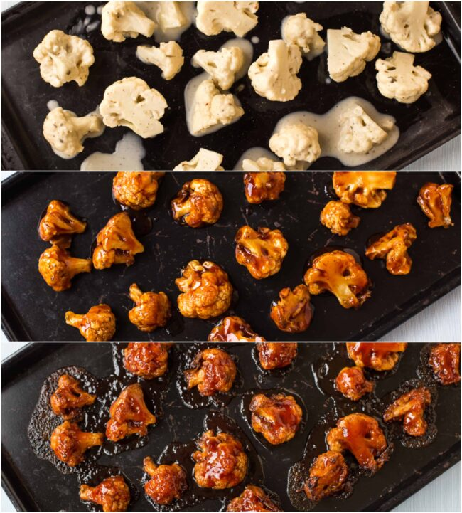 Collage showing cauliflower wings at different stages of cooking.