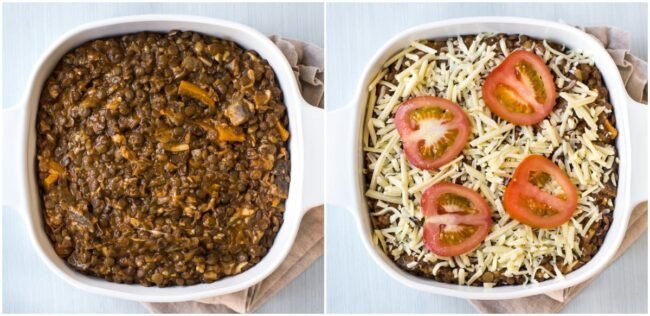 Lentil casserole before and after being topped with grated cheese and sliced tomatoes.
