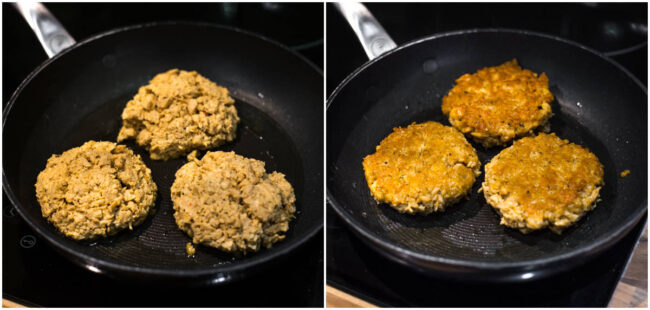 Vegan chicken burgers cooking in a frying pan.