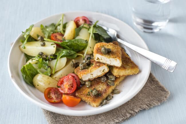 Crispy tofu escalopes.