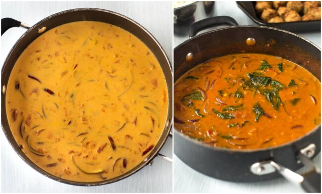 Collage showing coconut curry sauce cooking and changing colour over time.