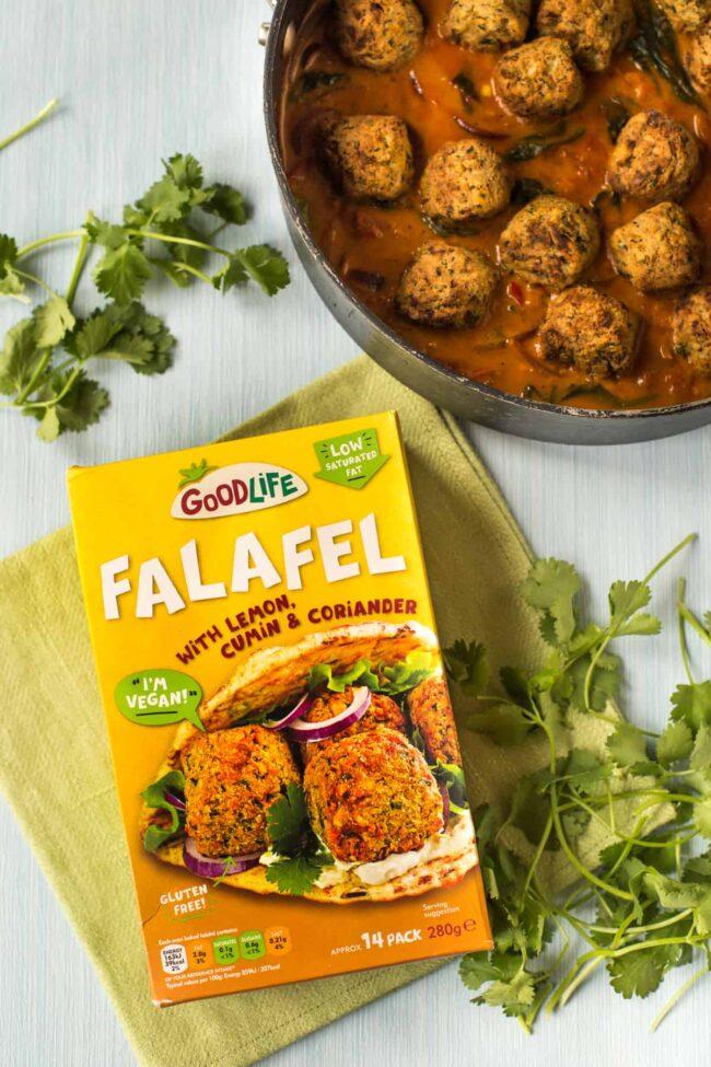 Goodlife falafel displayed next to a falafel curry.