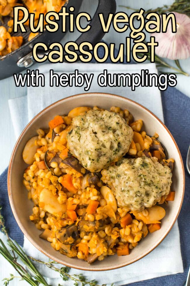 A portion of vegan cassoulet in a bowl topped with herby suet dumplings.