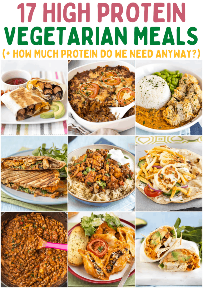 A collage showing various high protein vegetarian meals.