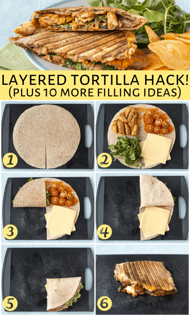 A collage showing how to make the layered tortillas that have gone viral on TikTok.
