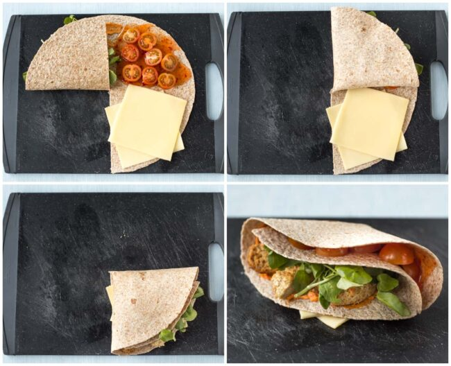 A collage showing how to fold a tortilla for the viral layered tortilla trend on TikTok.