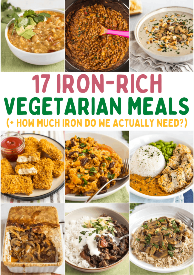 A collage showing a collection of iron-rich vegetarian meals.