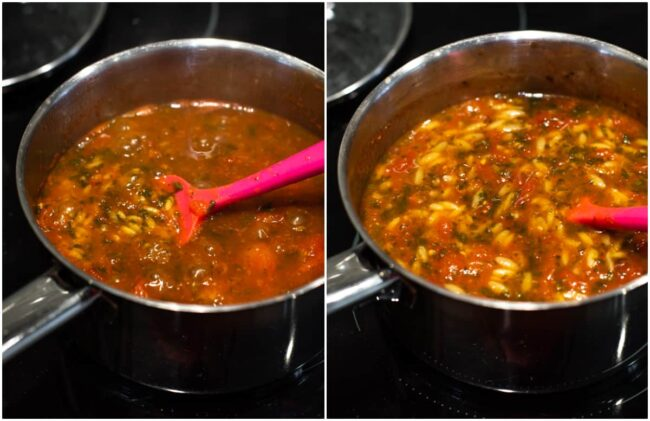 Collage showing orzo cooking in tomato soup.