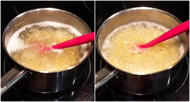 A collage showing orzo cooking in a pan of boiling water.