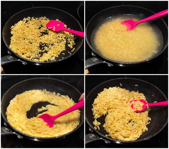 A collage showing orzo cooking in a pan like risotto.