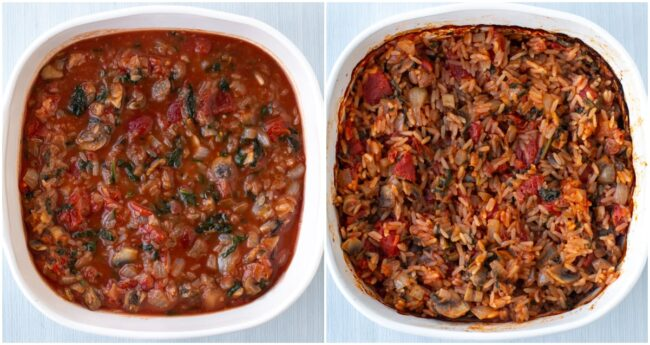 A collage showing baked rice before and after cooking.