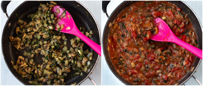 A collage showing vegetables and tomato sauce in a pan.